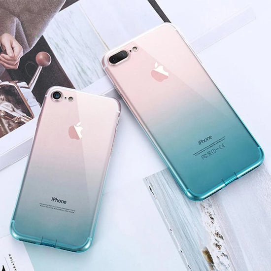Glossy Gradient Transparent Case For iPhone 6 6S iPhone 7 8 Plus XS Max XR Ultra Thin TPU Phone Cases For iPhone 5S 5 SE