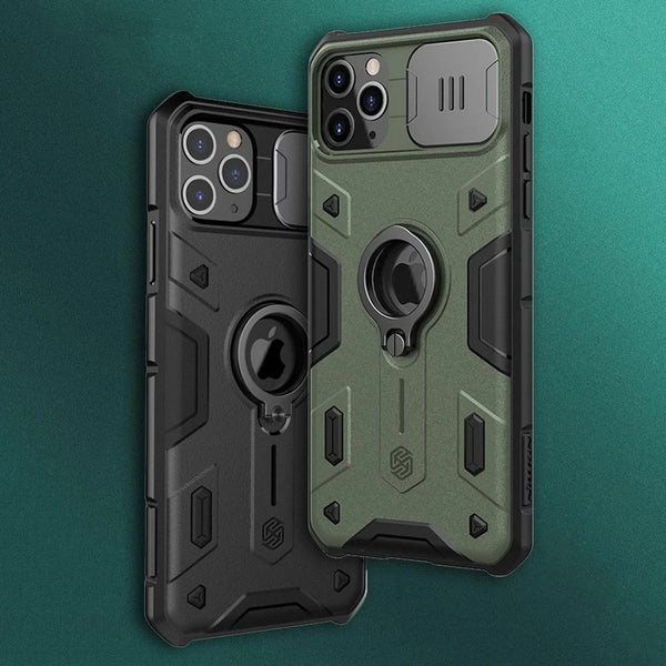 Impact Resistant Camshield Armor Phone Case for iPhone 12 11 Pro Max With Slide Camera Protection Case for iPhone 11 Pro Max Black & Army Green Phone Case