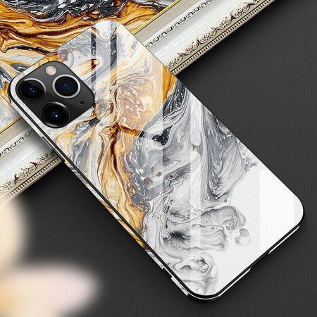 Luxurious Crystal Marble Tempered TPU Glass Case For iPhone 11 Pro Max X XR XS Max 8 7 6 6s plus Hard Back Cover Half Wrapped Case for iPhone