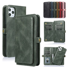 Load image into Gallery viewer, Soft TPU Leather Wallet Card Holder Case For iPhone 11 Pro Max Leather Cover For iPhone SE 2020 XS Max XR X 6 6s 7 8 Plus Flip Case For iPhone With Strap
