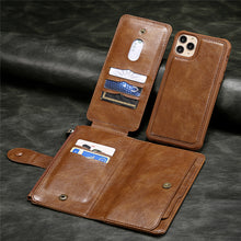 Load image into Gallery viewer, Luxury Soft TPU Leather Detachable Card Holder Wallet Case For iPhone 11 Pro XS Max XR X 7 8 6 6s Plus SE 2020 Soft TPU With Hard PC iPhone Case