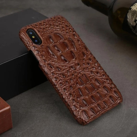 Luxury Crocodile Head Leather Case For iPhone X XR XS MAX 6 6S 7 8 Plus Back Case 3D Textured Phone Cover Hard Case For iPhone 6 6s 7 8 Plus