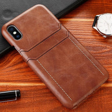 Load image into Gallery viewer, Luxury Leather Card Holder Phone Case for iPhone X XS Max XR XS 9 8 7 6 Plus Case Leather Back Cover Card Wallet Case for iPhone X Case