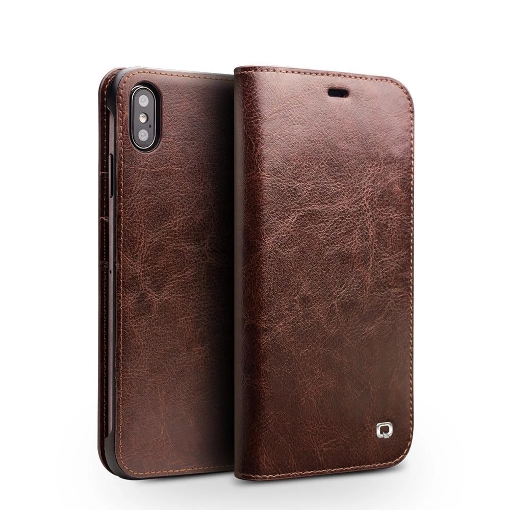 Luxury Ultra Slim Handmade Leather Flip Phone Case For Iphone Xsxr