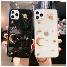 Load image into Gallery viewer, Moon And Stars Luxury Gold Bling Glitter Phone Case For iPhone 11 Pro X XR XS Max 6 6S 7 8 Plus Shockproof Stars Moon Planet Soft Acrylic Case