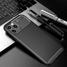 Load image into Gallery viewer, Shockproof Carbon Fiber Silicon Phone Case For iPhone 12 12 Pro Max Soft TPU Ultra Thin Ultra Light Shockproof Back Cover for iPhone 12 mini 11 Pro Max