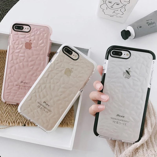 Simple Geometric Patterned Glossy iPhone Case For iPhone 7Plus Cover For iPhone X 6S 7 8 Color Soft Clear Back Diamond Case for iPhone