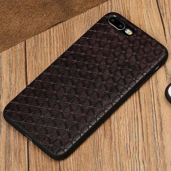 Stylish Leather Geometric Phone Case For iPhone X 7 8 6 Plus 5 5S SE Business Style Soft Back Case Cover With 360 Silicon Bumper Protection