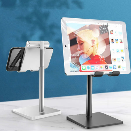 Tablet Desktop Stand Phone Holder For iPad iPhone Aluminum Stand For Holding Tablet Or Phone Ideal For Video Calls Fits Most Phones Tablets