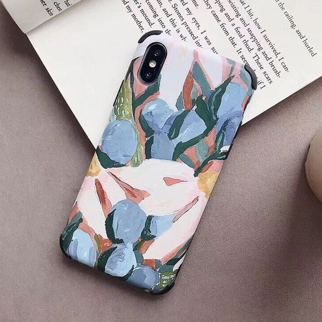 Nordic Style Cactus Floral Minimalist Art Phone Case For iPhone XR XS Max 6 6S 7 8 Plus X Soft IMD Palm Leaves And Quotes Anti-Knock Case