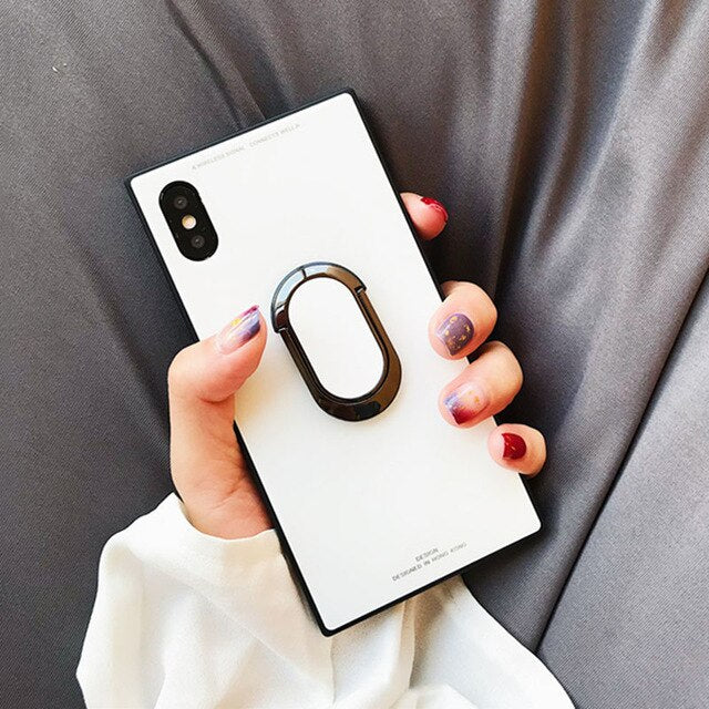 Luxury Square Hybrid Shockproof iPhone Case Anti-knock Tempered Glass Back Cover For iPhone X 8 7 6 6S Plus Phone Cases