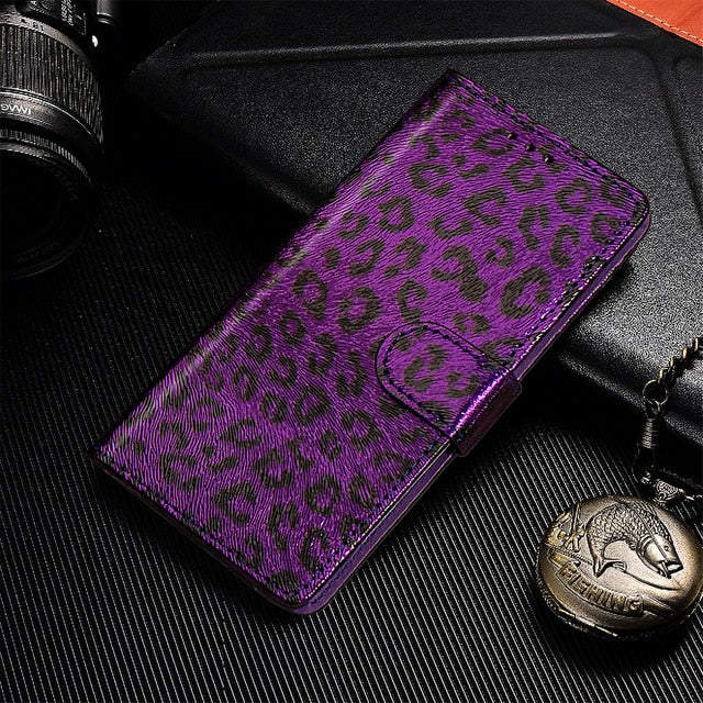 Classy Leather Leopard Skin Flip Phone Case For iPhone XS Max XR X 6 6s 7 8 Plus Leopard Print Wallet Flip Book Case For iPhone With Lanyard