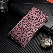 Load image into Gallery viewer, Classy Leather Leopard Skin Flip Phone Case For iPhone XS Max XR X 6 6s 7 8 Plus Leopard Print Wallet Flip Book Case For iPhone With Lanyard