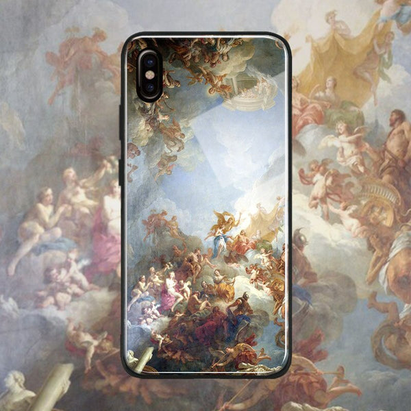 Vintage Baroque Fine Art Print Phone Case Tempered Glass Phone Case Soft Silicone Shell Cover For Apple iPhone 6 6s 7 8 Plus X XR XS MAX
