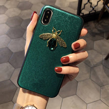 Load image into Gallery viewer, Luxury Diamond Bee Phone Case Soft Silicone Leather Rhinestones Cases For iPhone X XR XS Max 7 8 6 6S Plus