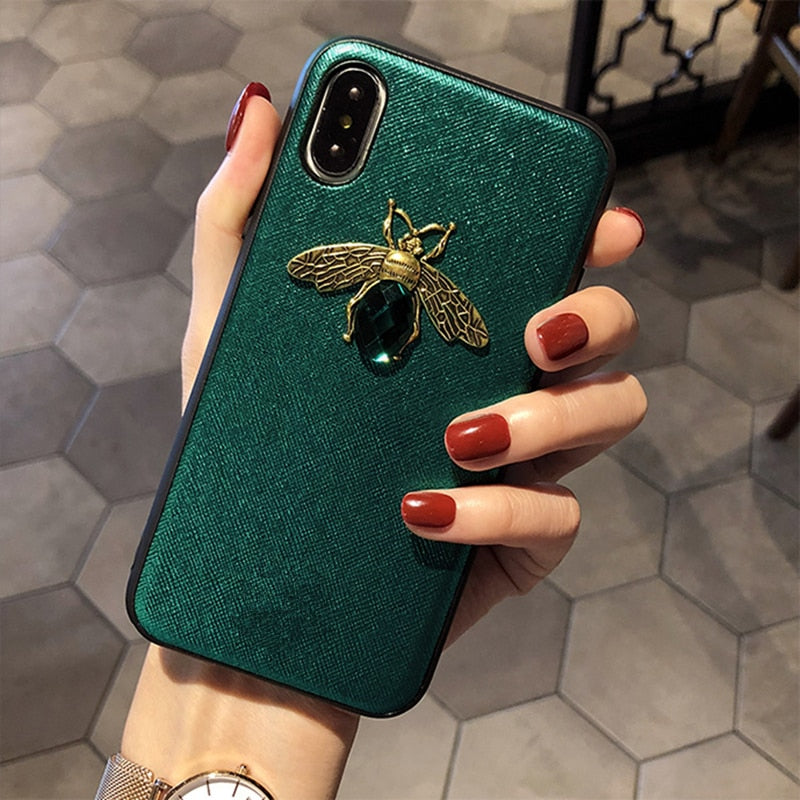 Luxury Diamond Bee Phone Case Soft Silicone Leather Rhinestones Cases For iPhone X XR XS Max 7 8 6 6S Plus