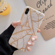 Load image into Gallery viewer, Tropical Vintage Gold Leaf Cute Retro Floral Phone Case For iPhone 11 Pro Max XR XS Max 6 6S 7 8 Plus X Soft Full Body Back Cover