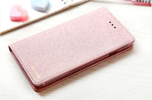 Luxury Silk Leather Wallet Flip Case With Card Holder Slots Magnetic Flip Cover Case For iPhone 6 6S 7 8 Plus X XS XR XS Max Case With Stand