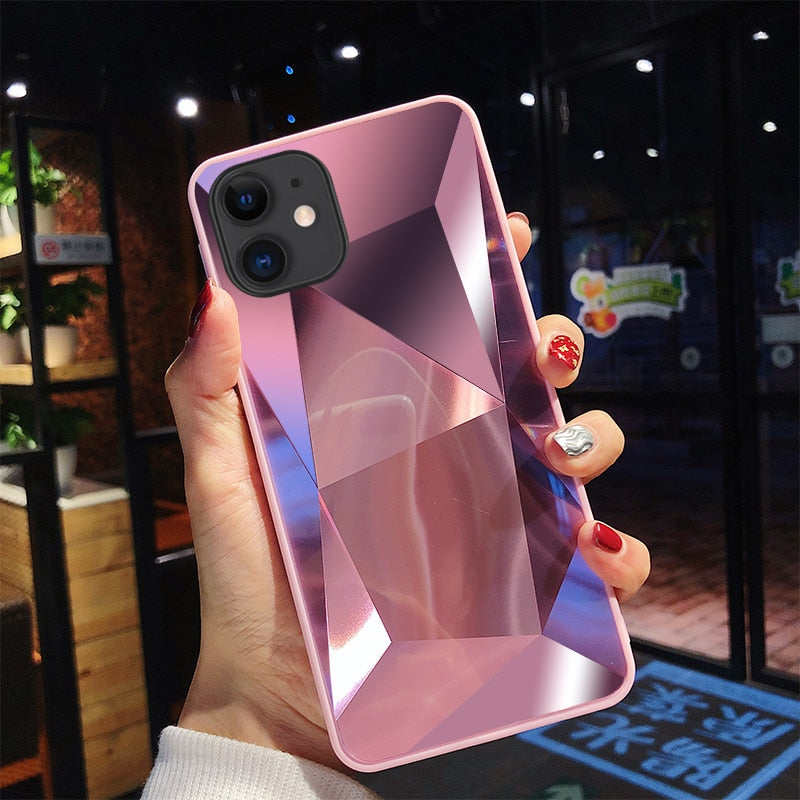 Luxury 3D Diamond Case For iPhone X XR XS Max 8 7 6 6S 11 Pro Case For iPhone 11 Pro Max 6.5 inch 3D Effect Mirrored Back Cover
