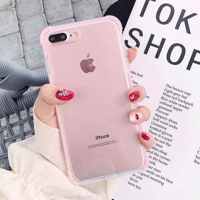 Cute Protective Anti-Knock Bumper Transparent Case For iPhone 11 Pro Max XR XS Max X 6 6S 7 8 Plus Soft TPU Phone Back Cover Case