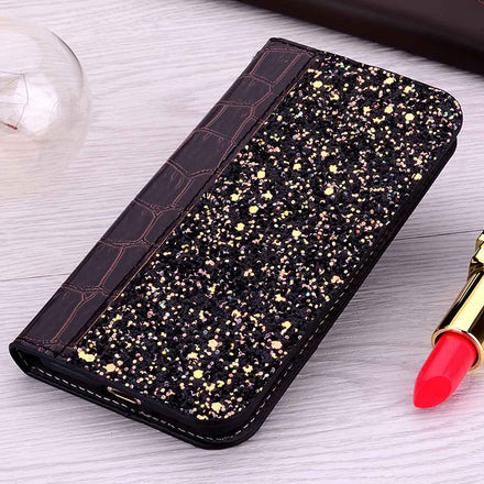 Bling Glitter Crocodile Skin Soft Silicon PU Leather Case for iPhone 11 Pro XS Max XR X Alligator Wallet Flip Cover for iPhone 8 7 6 6S Plus 5S SE
