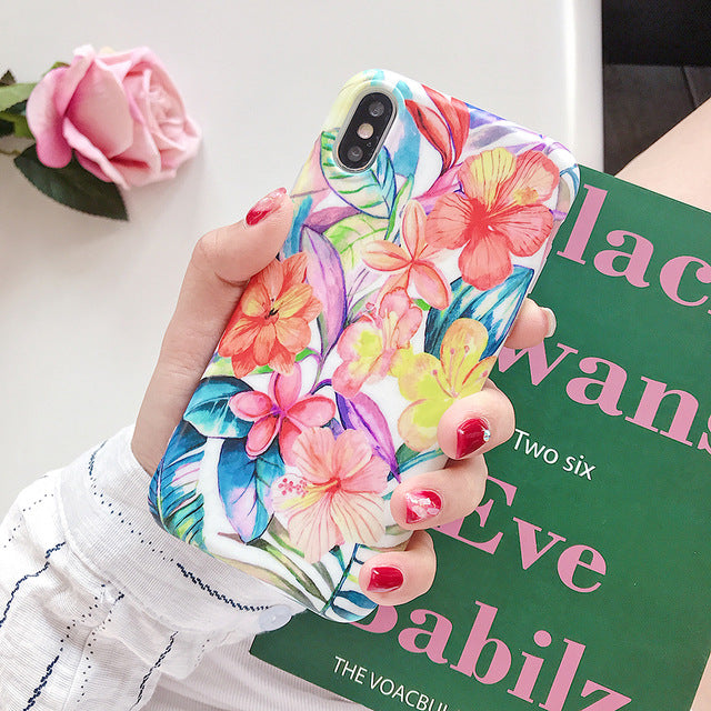 Vintage Floral Phone Case For iPhone 11 Pro Max XR XS Max 6 6S 7 8 Plus X Soft Silicon Protective Fitted Case Back Cover for iPhone
