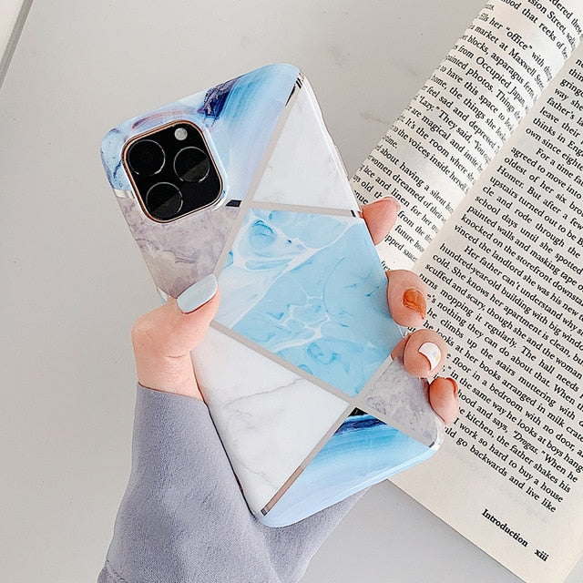 Cute Geometric Marble Case For iPhone 11 Pro Max XR XS Max 6 6S 7 8 Plus X Soft Protective Fitted Back Cover Case For iPhone