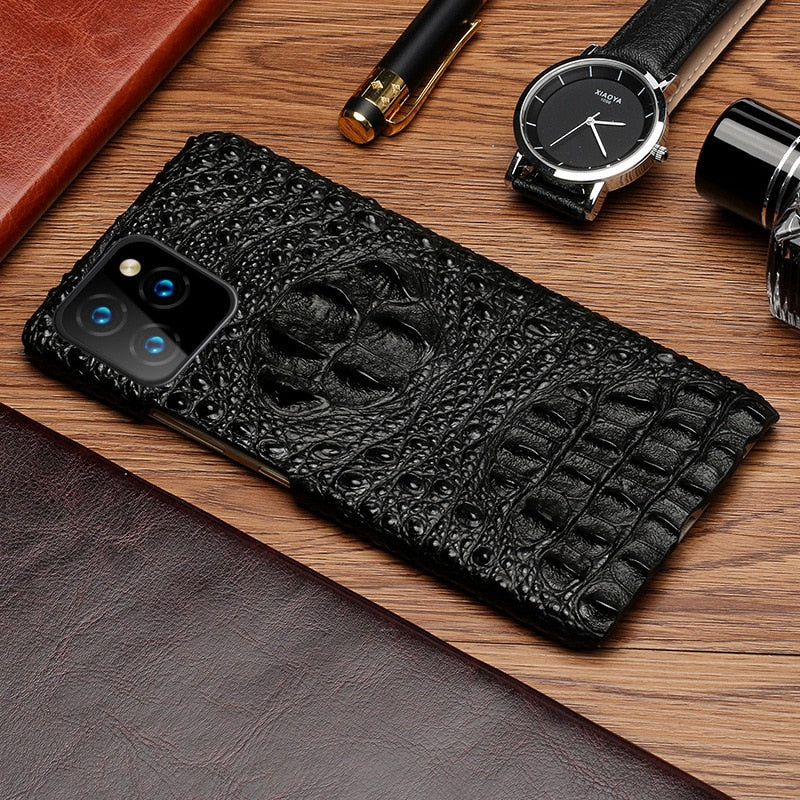 Stingray Phone Case Stylish Men's Half Wrapped 3D Phone Case For iPhone 11 Pro Max Genuine Leather Case For iPhone 7 8 11 Xr XS Max