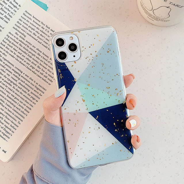 Modern Geometric Golden Tropics Phone Case For iPhone 11 Pro Max XR XS Max 6 6S 7 8 Plus X Soft Fitted Case