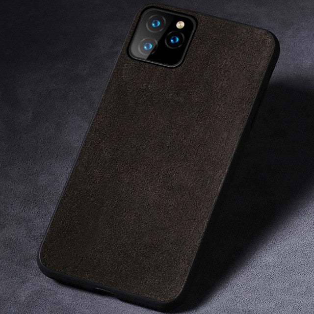Suede Leather Alcantara Phone Case For Apple iPhone 11 11 Pro 11 Pro Max X XR XS XS Max 6 6S 7 8 Plus Fitted Phone Case For iPhone