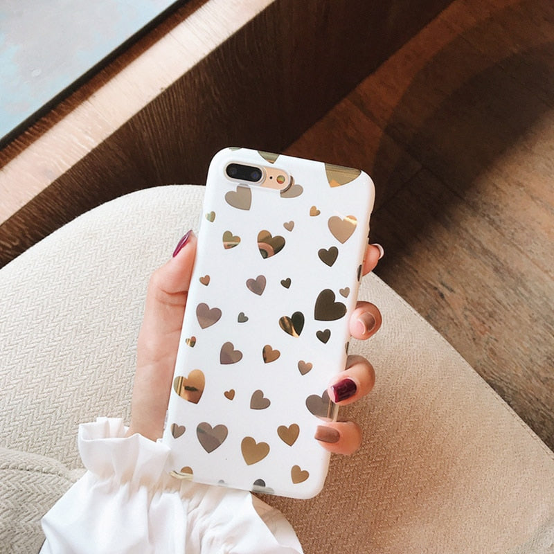Cute White And Gold Mirrored Love Hearts Phone Case For iPhone X XR XS MAX Case For iPhone 6 6s 7 8 plus Back Cover Luxury Phone Cases
