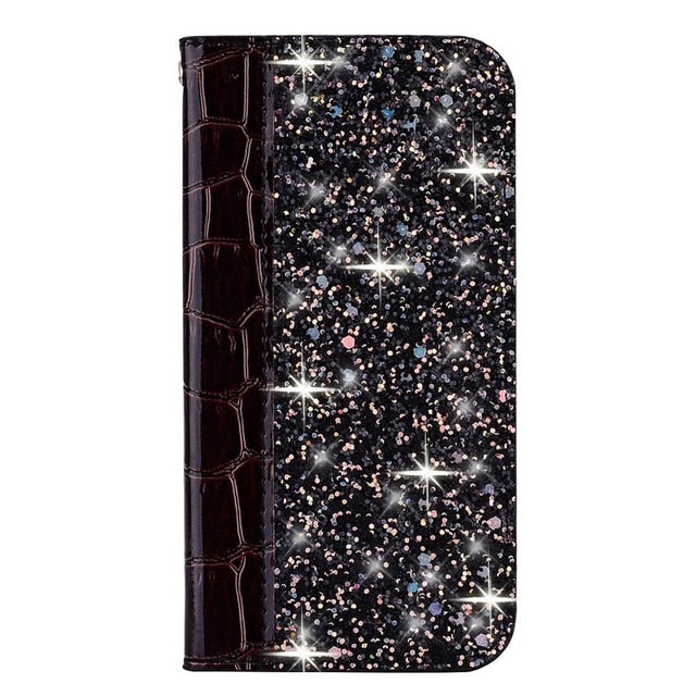 Elegant Glitter Bling Soft PU Croc Leather Book Case For iPhone 7 8 6 6S Plus 5S Funda Case for iPhone X XR XS Max 11 Pro Max Wallet Case With Kickstand