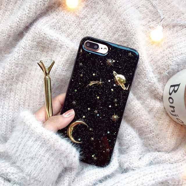 Moon And Stars Luxury Gold Bling Glitter Phone Case For iPhone 11 Pro X XR XS Max 6 6S 7 8 Plus Shockproof Stars Moon Planet Soft Acrylic Case