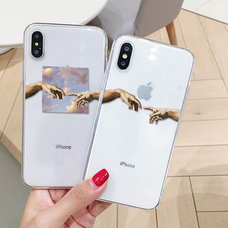 The Creation Of Adam Michelangelo Phone Case For iPhone 11 XS MAX XR 6 6s 5s se 7 8 Plus Transparent TPU Modern Retro Art Phone Case