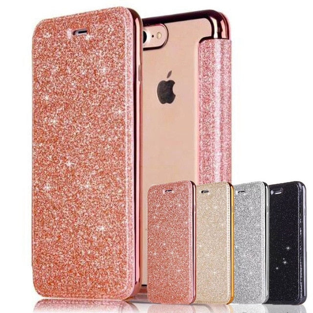Glittering Bling Soft PU Leather Flip Wallet High Quality Fashion Case For iPhone 11 Pro XS Max XR X 8 8Plus 7 7 Plus 6 6s Plus 5 5S SE Card Holder Case 4 Colors