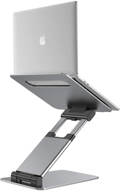 Telescopic Height Adjustable Aluminum Laptop Stand For MacBook Pro Ergonomic Design Improves Posture Whilst Working For Most Laptops Up to 17 inch