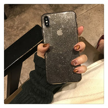 Load image into Gallery viewer, Shiny Glitter Powder Transparent Shockproof Black Phone Case For iPhone 11 Pro XR XS Max 8 7 Plus 6S Bling Soft TPU Back Cover