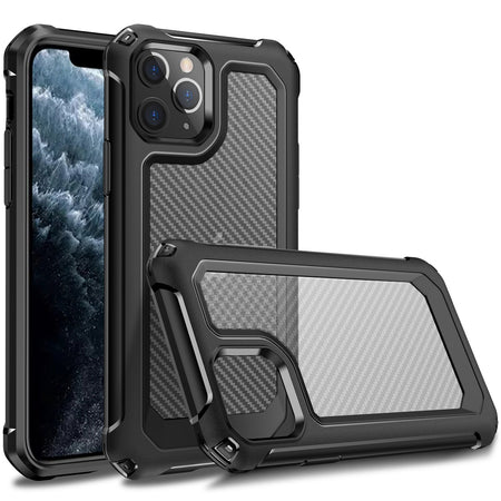 Ultra Protective Full Body Armor Case For iPhone iPhone 11 Pro 11 Pro Max X XS XR XS Max 8 Plus 7 iPhone SE 2020 Carbon Fiber Bayer PU Shockproof Case