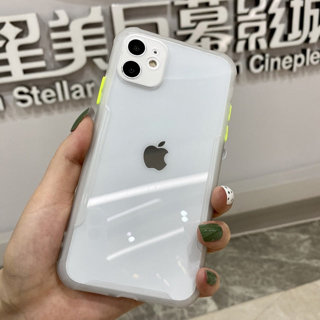 Luxury Shockproof Bumper Transparent Cover For iPhone 11 Pro Max XR X XS 7 8 Plus SE 2 2020 Protective Cover With Lens Protection