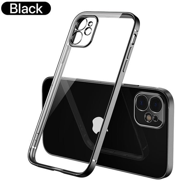 Square Edge Frame Design Transparent Case For iPhone 11 Pro Max 12 X XR XS MAX SE 2020 7 8 Plus Tribute Classic Soft TPU Case