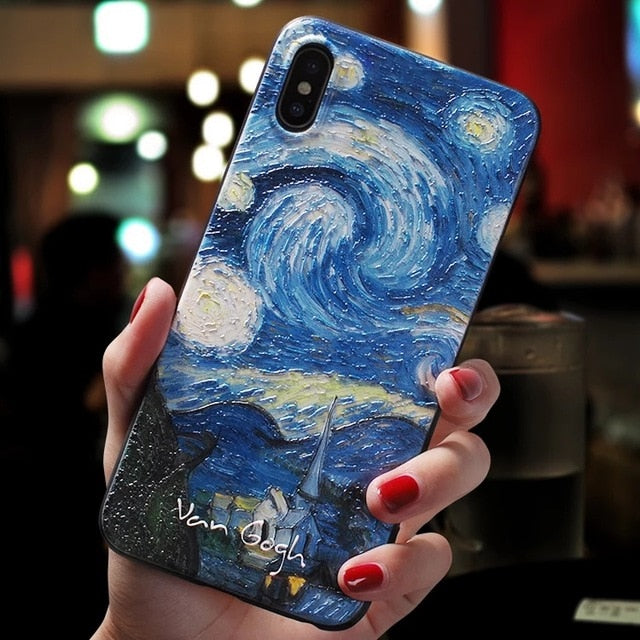 3D Textured Famous Paintings Van Gogh Black Phone Case For iPhone 11 Pro Max 6 7 8 6s Plus 5 5s se Cover For iPhone XR X XS Max SE 2020 Cases