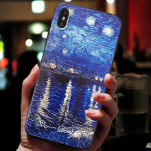 Load image into Gallery viewer, 3D Textured Famous Paintings Van Gogh Black Phone Case For iPhone 11 Pro Max 6 7 8 6s Plus 5 5s se Cover For iPhone XR X XS Max SE 2020 Cases