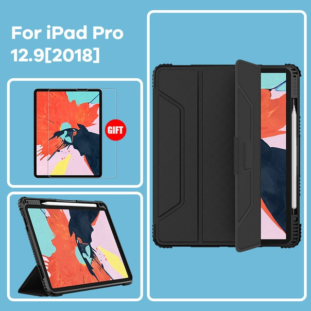Durable Heavy Duty Case For iPad 9.7 iPad Pro 11 iPad 10.2 iPad Pro 12.9 case Shock Proof Corners Smart Flip Cover For iPad Case With Screen Protector Options