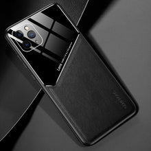Load image into Gallery viewer, Luxury Plexiglass & Leather Combo Slim Case For iPhone 11 Pro Max X XS XR 6 6s 7 8 Plus SE 2020 With Built In Magnetic Patch