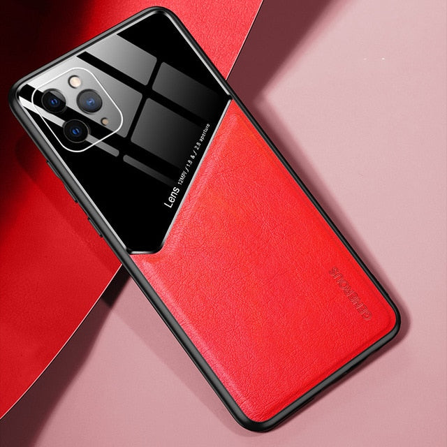 Luxury Plexiglass & Leather Combo Slim Case For iPhone 11 Pro Max X XS XR 6 6s 7 8 Plus SE 2020 With Built In Magnetic Patch