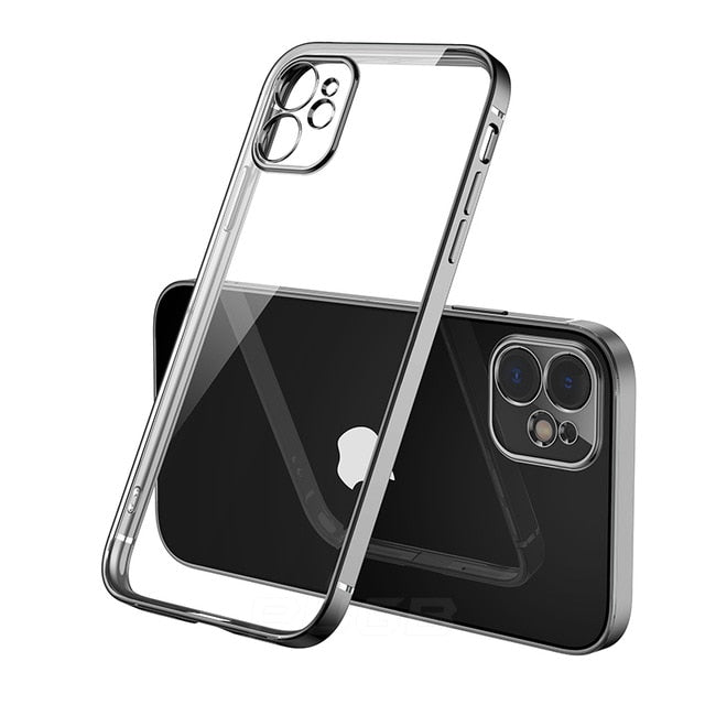 Luxury Classic Square Frame Design Transparent Case For iPhone 11 Pro Max 12 iPhone SE 2020 XS Max XR 6 6S 7 8 Plus Soft Ultra Thin Clear Cover
