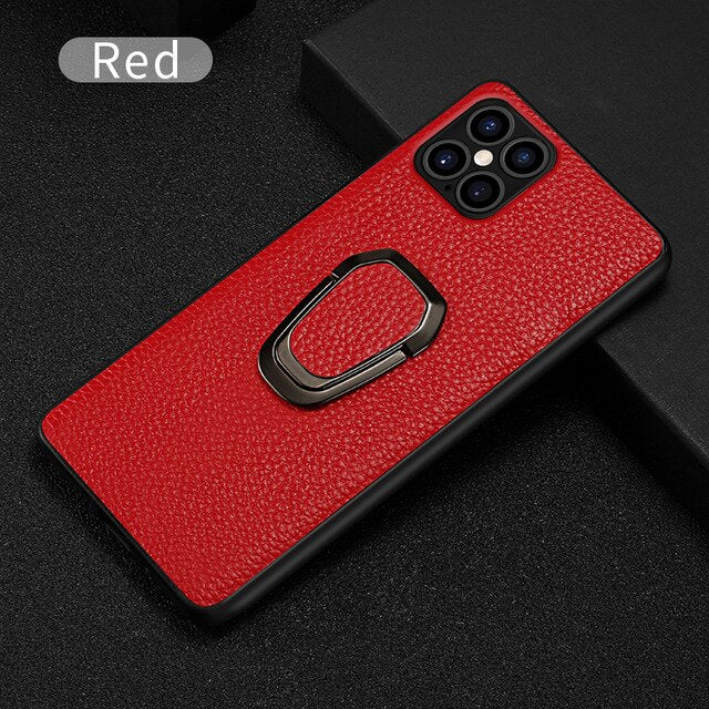 Premium Textured Genuine Leather Luxury iPhone Cover With Magnetic Kickstand For 12 Pro Max SE 2020 11 Pro Max X XS Max XR 6 7 8 Plus Case