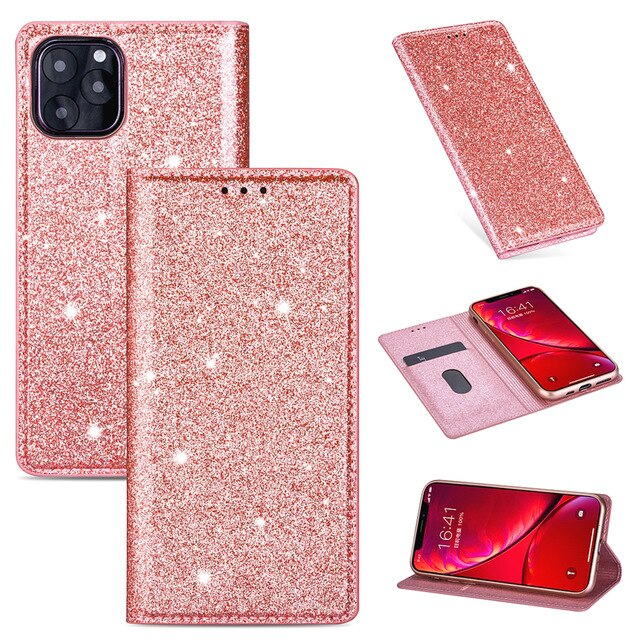 Glittering Case For iPhone 11 Pro Max X XR XS Wallet Premium Quality PU Leather Case With Flip Stand Silicone Case For 8 7 6 6S Plus 5 Glitter Case With Card Slot