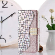 Load image into Gallery viewer, Luxury Bling Glitter Case for iPhone 11 Pro Max Case For iPhone SE 2 iPhone 12 2020 Xs Xr X 5 6 7 8 Soft PU Leather Case With Card Slots & Magnetic Clasp