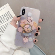 Load image into Gallery viewer, Luxury Marble Gold Glitter Geometric Ring Holder Phone Case For iPhone 12 Mini 11 Pro Max XR X XS Max 7 8 6 Plus Case Soft Phone Cover With Finger Ring Kickstand